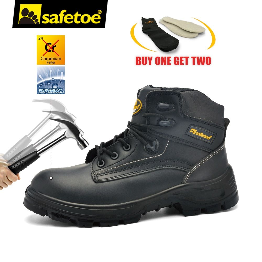 Safetoe Safety Shoes Work Boots Men Steel Toe Cap Nubuck Leather Breathable UK Size 2-13 Hiker Abrasion Resistant  S3 SRC