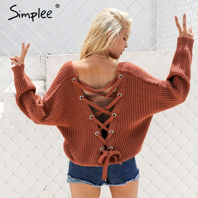 Simplee Sexy dos nu à tricoter pull lace up Mode automne hiver chandail femmes tops Casual creux out cavalier pull femme