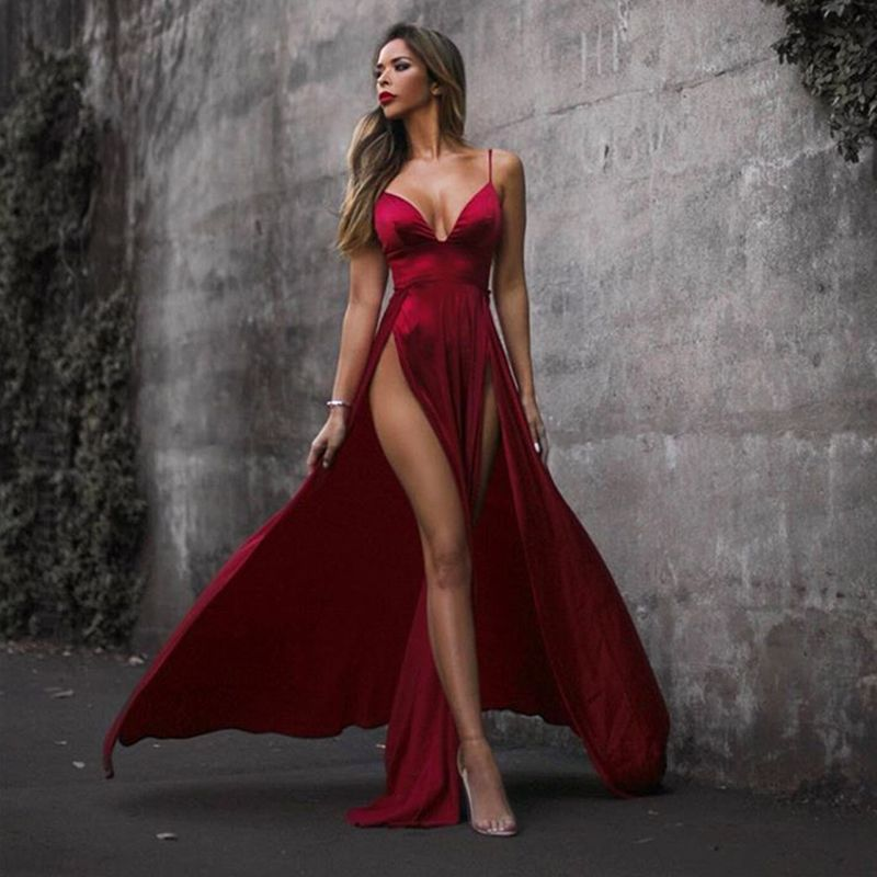 2018 Sexy High Split Sides Shiny Red Velvet Maxi Dress Cross Straps Backless Party Dresses Draped Deep V Neck Floor Length Dress