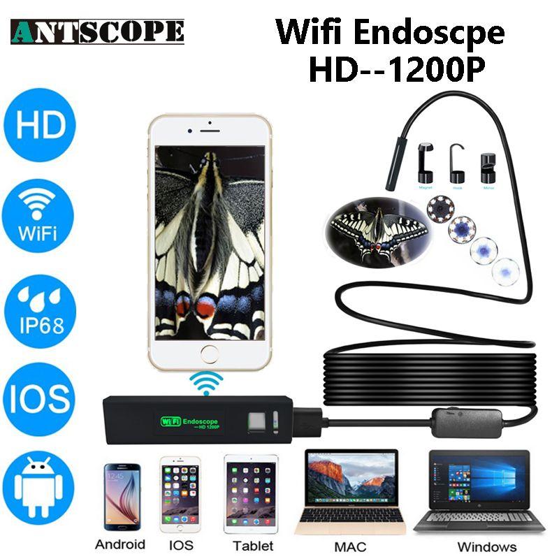 Antscope Iphone Endoscope HD Wifi Camera 8mm 1200P Borescope Waterproof Camera Endoscopio Hard Tube Wifi Endoscope Camera