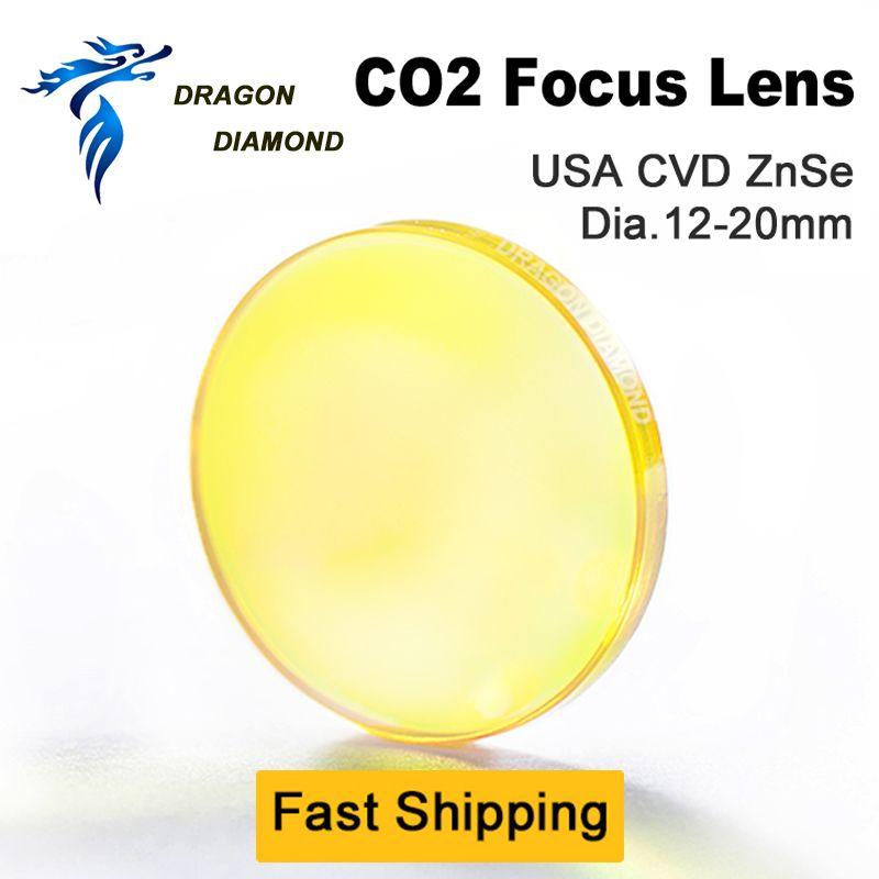 USA CVD ZnSe CO2 lentille Laser 12mm 15mm 18mm 19.05mm 20mm Dia 38.1-127mm 1.5-5 pouces longueur de mise au point miroirs pour Machine Laser CO2