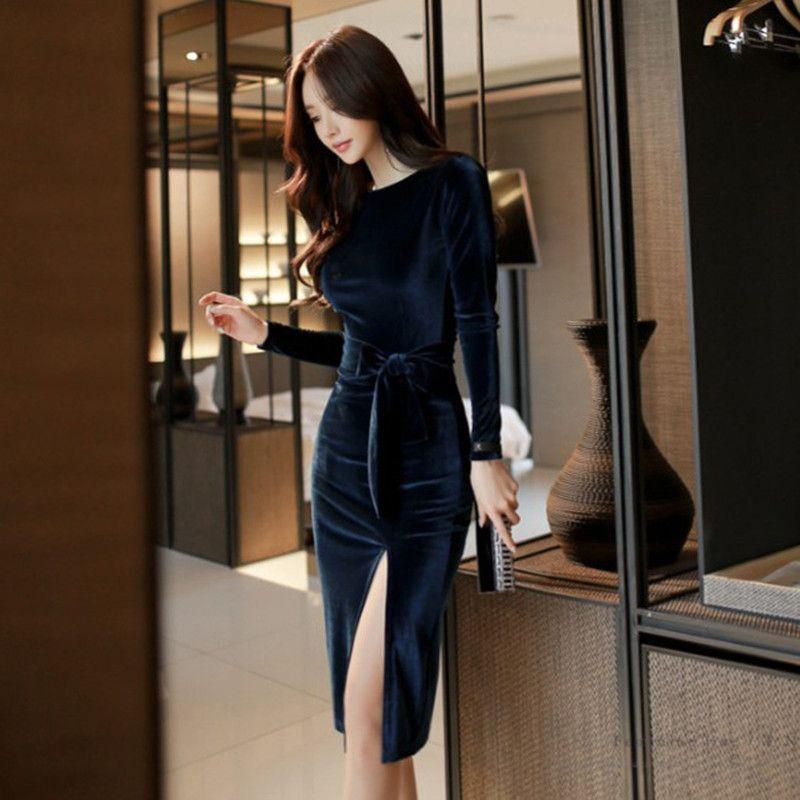 2019 Winter Party Office Dresses for Women Solid Long Sleeve Black Bodycon Vintage Vestidos Velvet Dresses Split Sheath Dress