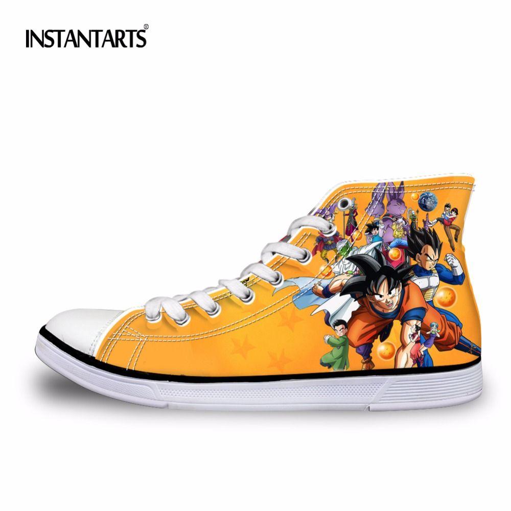INSTANTARTS Fashion Anime Dragon Ball Z Print Mens High-top Vulcanized Shoes Cool Super Saiyan Son Goku Canvas Shoes for Men Boy
