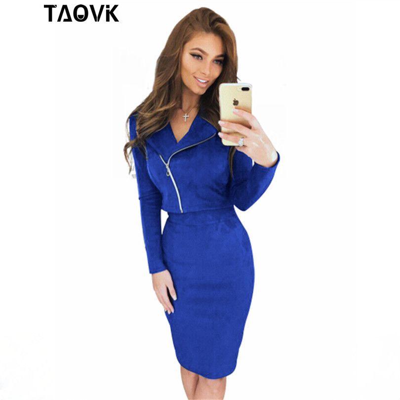 Taovk юбка костюм открытым Вилы весна-осень молнии Обтягивающая одежда куртка + юбка 2 из двух частей комплект замшевые комплекты