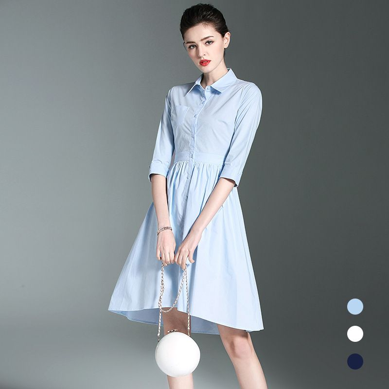 Hot-sales 2018 Spring New Product Lapel Slim Sleeves Pleated Cotton Dress Long Large Temperament Office Dress Women Clothing