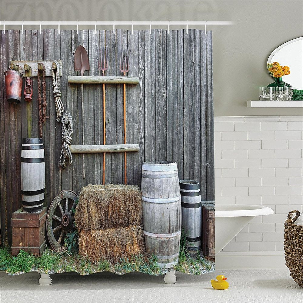 Agriculture Shower Curtain, Western Wooden Barn Countryside Bucolic Rural House Folk Vintage Scenery, Fabric Bathroom Decor Set