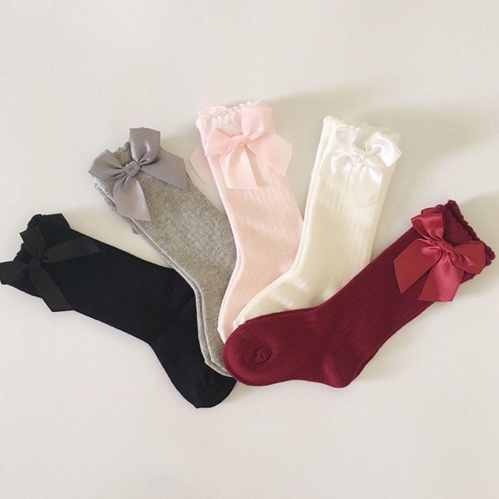 Носки для маленьких девочек носки принцессы до колена с бантом симпатичные детские носки для девочек длинные детские гольфы с бантиком и ве...