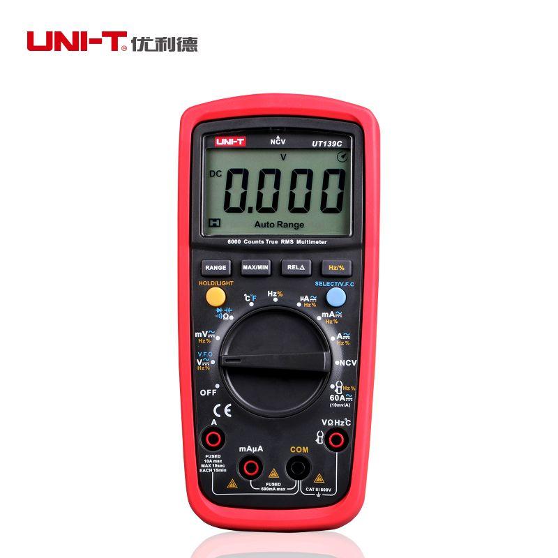 UNI T UT139C Vrai RMS Multimètre Numérique Auto/Manuel Gamme Testeur 6000 6000count Voltmètre Ohmmètre Température Fréquence test