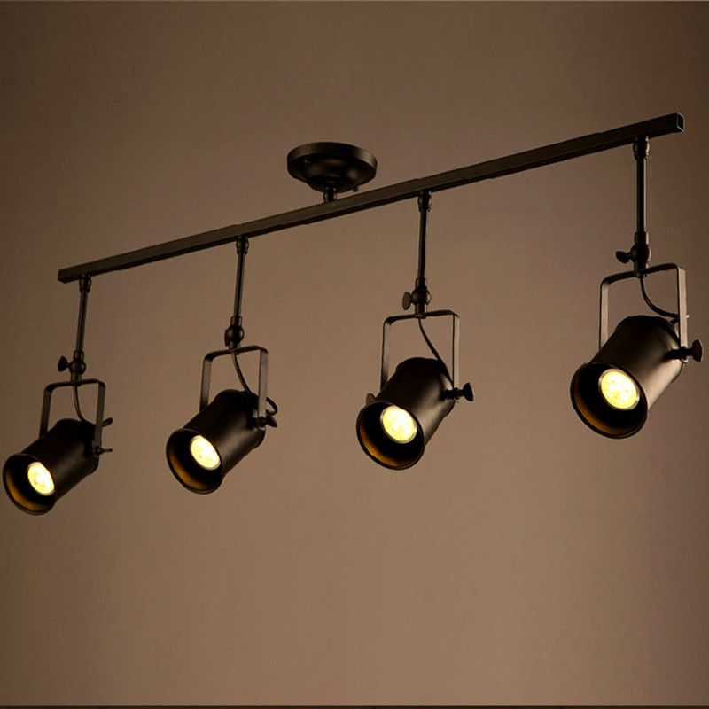 Retro Loft Vintage LED Track Light Industrial Ceiling Lamp Bar Clothing Personality spotlight Light Four Heads