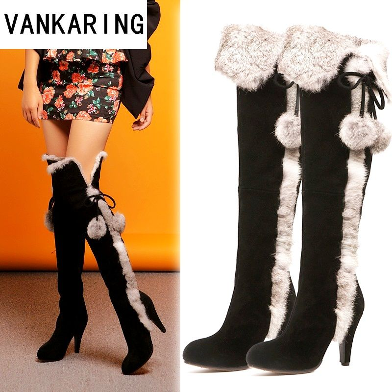 VANKARING women winter snow boots thin high heels warm suede leather fur long plush black shoes woman over the knee high boots