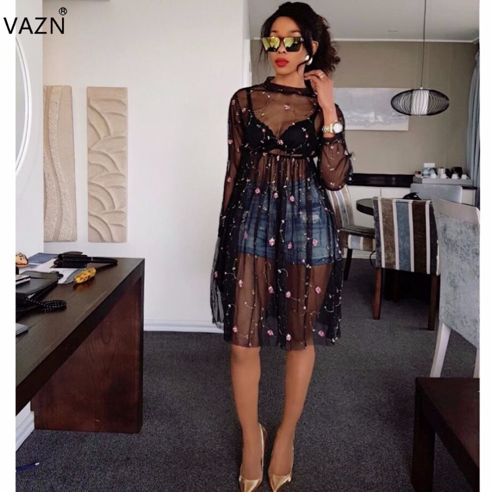 VAZN 2017 New Fashion Women Bandage Dress Full Sleeve Mini Casual Dress Black Patchwork Lace Dress WY6338