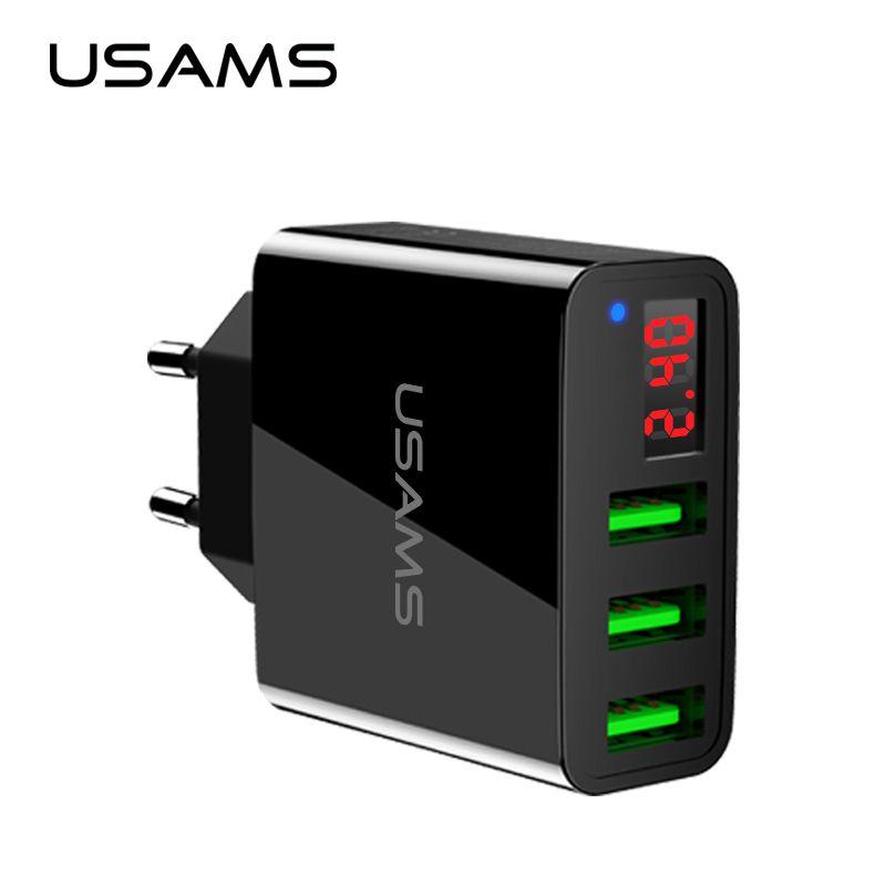Chargeur de téléphone USAMS 3 ports USB affichage de LED prise ue Total Max 3.4A chargeur rapide intelligent chargeur mural Mobile pour iPhone iPad Samsung