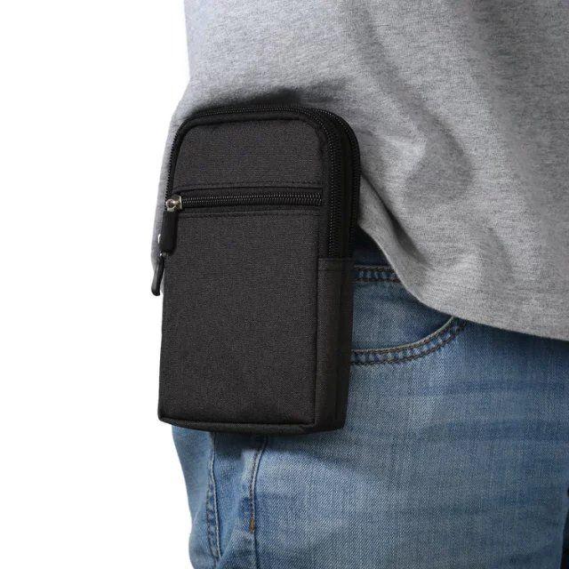 Outdoor Hiking Sports Multi-Pockets Case Canvas Nylon Waist Bag For Oukitel K10000 Pro/U22/U11 Plus/K6000 Plus/ U16 Max/U7 Max