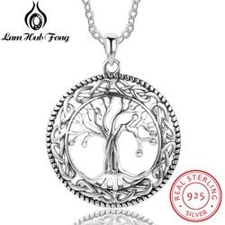 Vintage Real 925 Sterling Silver Tree of Life Round Pendant Necklace Women Silver Jewelry Gift For Grandma (Lam Hub Fong)