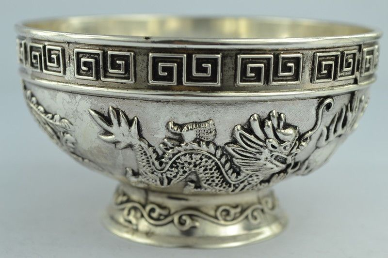 Chinois rares objets de collection vieux travail manuel Tibet-argent bol métal artisanat