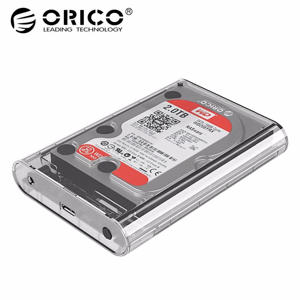 ORICO 3139U3 3,5 zoll Transparent HDD Gehäuse Fall USB 3.0 5 Gbps SATA3.0 Unterstützung UASP 8 tb Sticks für Notebook Desktop PC