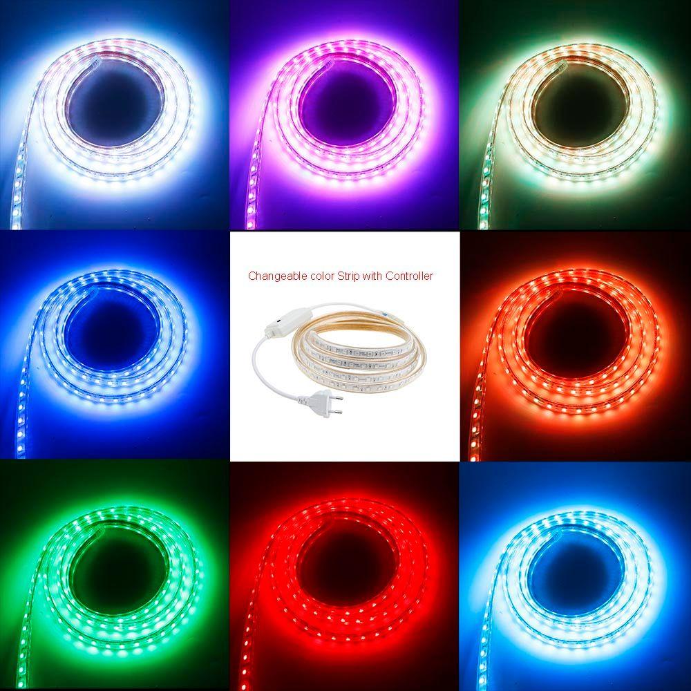 AC220V bande smd LED 5050 puce 3 M/4 M/5 M/6 M/7 M/8 M/9 M/10 M/15 M/20 M/25 M avec prise EU 60 led/m étanche lumière LED de noël IL