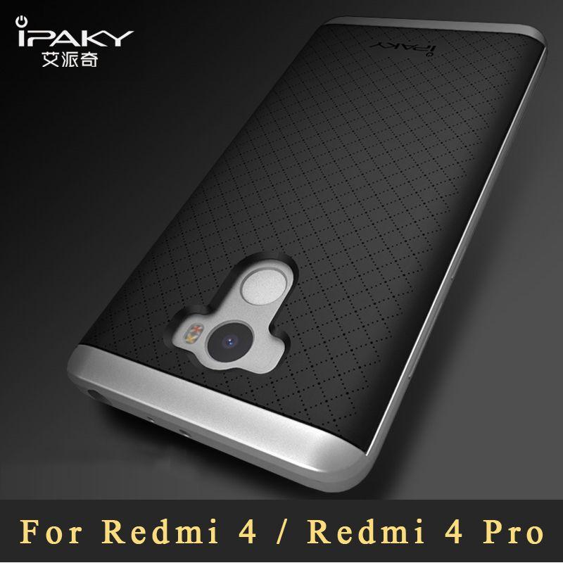 Xiaomi redmi 4 4x Case Original ipaky Xiaomi redmi 4 pro case Luxury Silicone Armor Back Cover + PC Frame For redmi4 cover 5.0