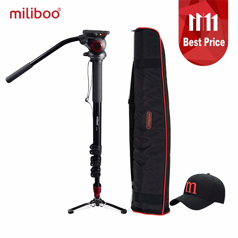 miliboo <font><b>Professional</b></font> Aluminum Portable Camera monopod with Hydraulic Head tripod stand Unipod Holder with 1/4,3/8 screw travel