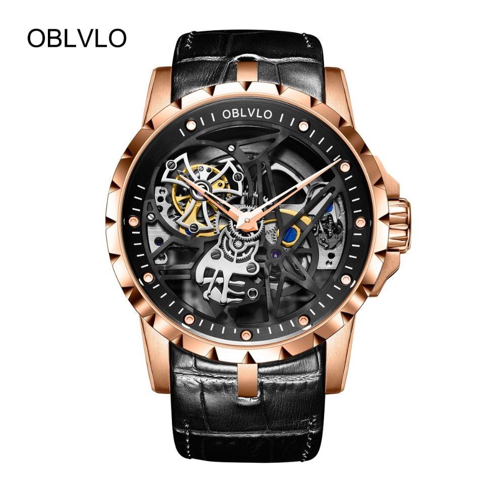 OBLVLO Marke Designer Casual Uhren Mens Echtes Lederband Rose Gold Skeleton Automatische Uhren RM-1