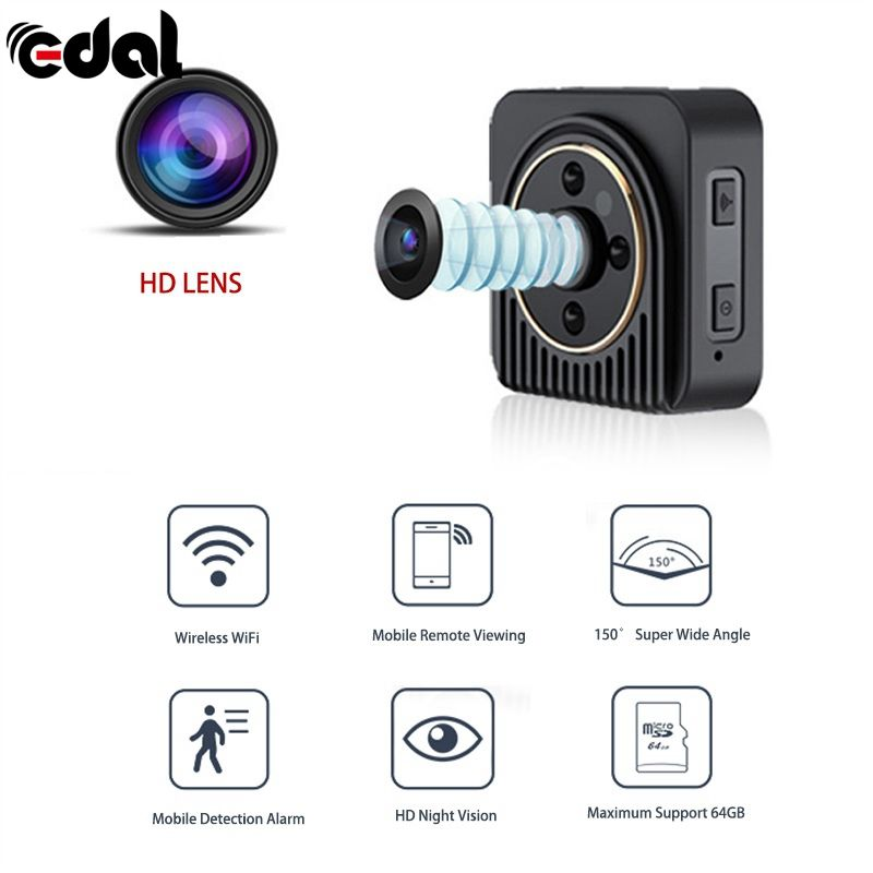 EDAL 1080 P Mini Kamera 13MP Wifi Infrarot-nachtsicht 150 Grad HD Sport Digitale Micro Cam Erkennung Camcorder Recorder