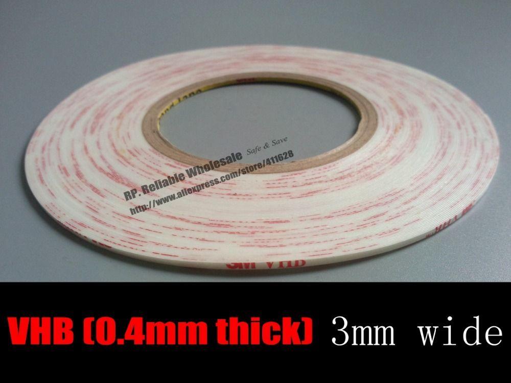 (0.4mm de Grosor), 3mm * 33 M Blanco Fuertes VHB Adhesiva de Doble Cinta De Espuma Blanca para Sello A Prueba de polvo Smartphone Tablet Pantalla Del Marco