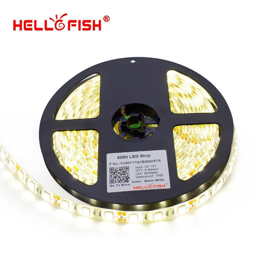 Hello рыбы IP65 Водонепроницаемый светодиодный полосы светодиодный гибкий свет светодиодный ленты 5 м 300 светодиодный чипы DC12V белый/теплый белы...