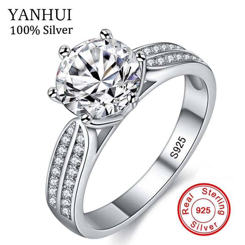 YANHUI 100% Real Natural 925 Sterling Silver Rings for Women Luxury 8mm Sona Cubic Zirconia Wedding Rings Fashion Jewelry ZLR006