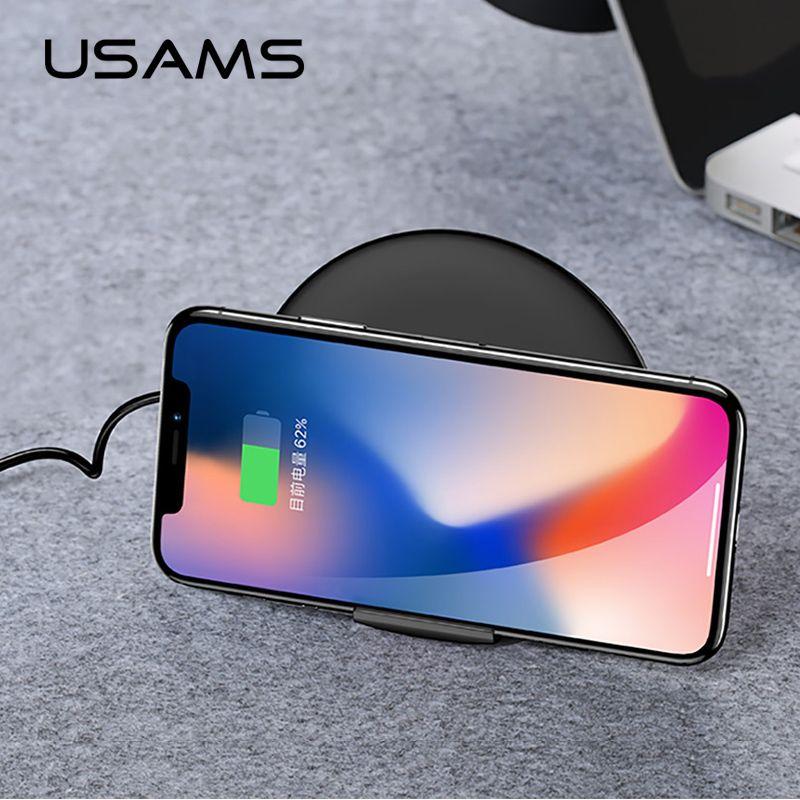 Qi Wireless-ladegerät für iphone 8/X/8 Plus 10 watt USAMS Schnelle Wireless Charging für Samsung Galaxy S8 s9 S7 Drahtlose Ladegerät USB Pad