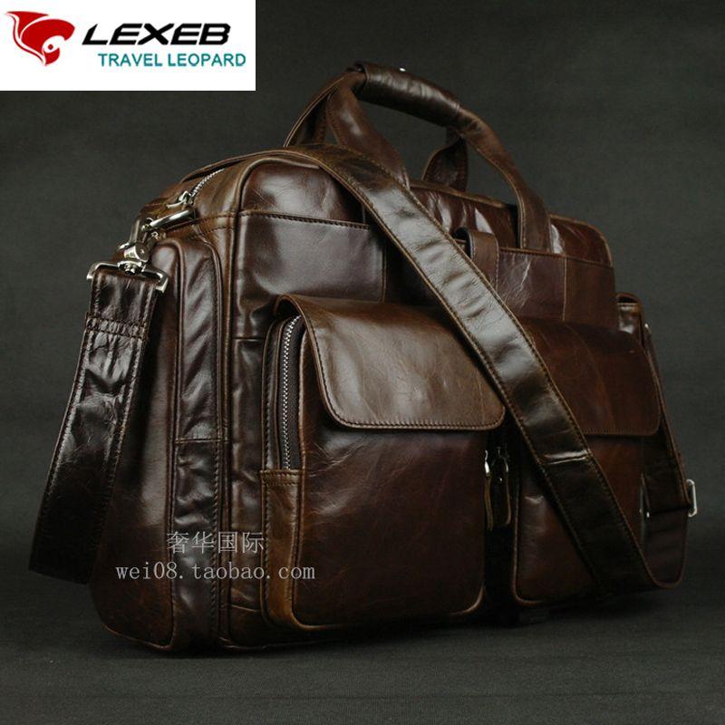 LEXEB Marke Leder herren Aktentasche Für 15 Laptop Vintage Klassische Business Reisetasche Hochwertige Büro Taschen Für Männer kaffee