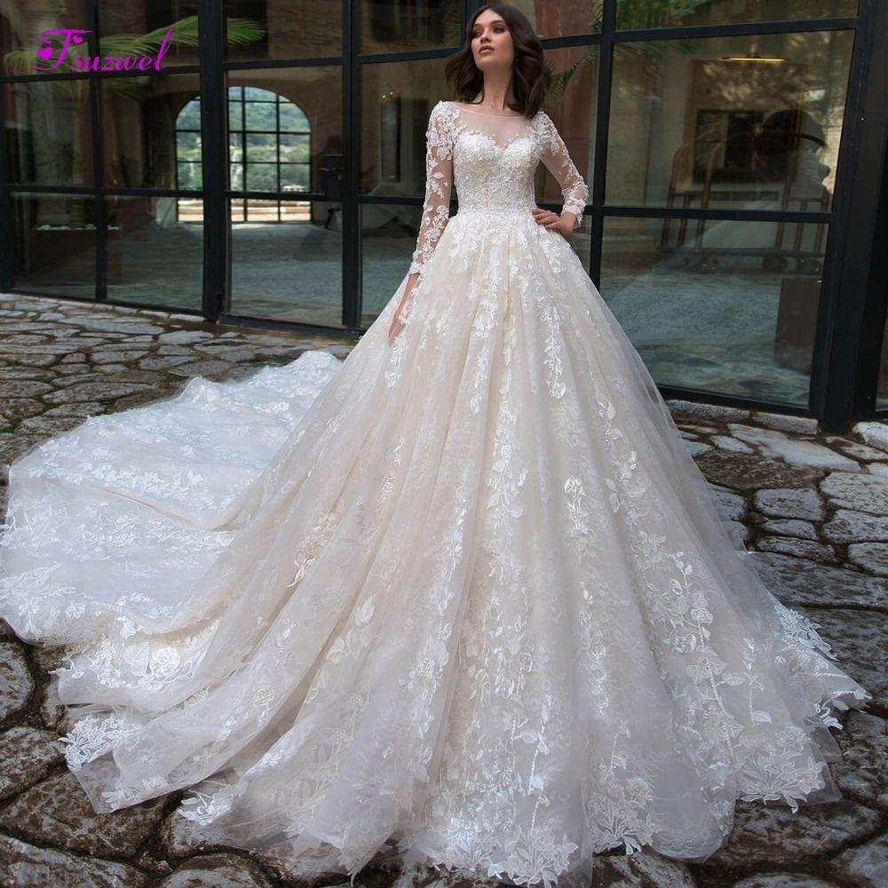 Wunderschöne Appliques Kapelle Zug Spitze A-linie Brautkleider 2019 Sexy Scoop Neck Langarm Vintage Braut Kleid Vestido de Noiva