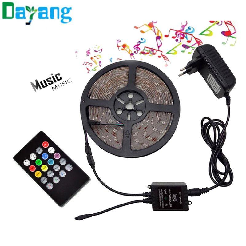 RGB LED Strip 3528 non waterproof 5M 10M set Fita led light 10m 3528 rgb diode led tape set+Music controller+DC12V Power Adapter