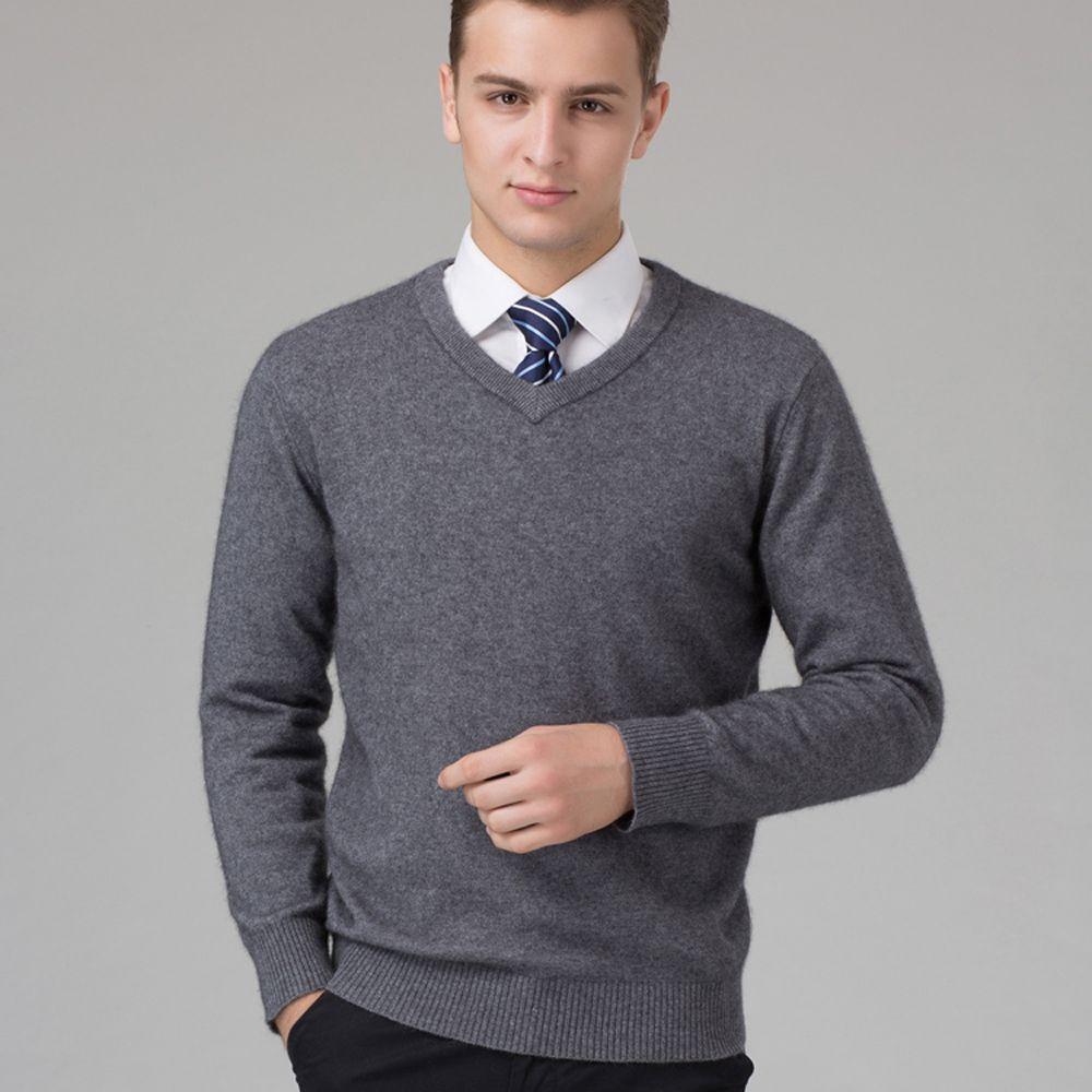 Hombre suéter 100% suéter de Cachemira Pura de Punto Calientes del Invierno Suéteres Con Cuello En V Suéteres de Manga Larga Estándar Macho Jumper 8 Colores Puls Tamaño