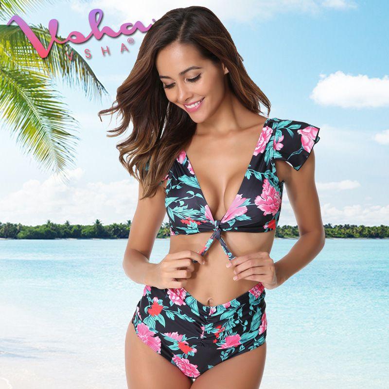 VSHA Big Flower Bikini Women 2018 Summer Swimsuit Brazil Model Girls Swimwear Beach Two piece suit Quality Bathing Wear