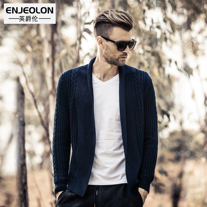 Enjeolon top marque 2017 tricoté cardigan Chandails homme Angleterre style vêtements, O-col Noir Vêtements, homme de Chandail occasionnel M2029