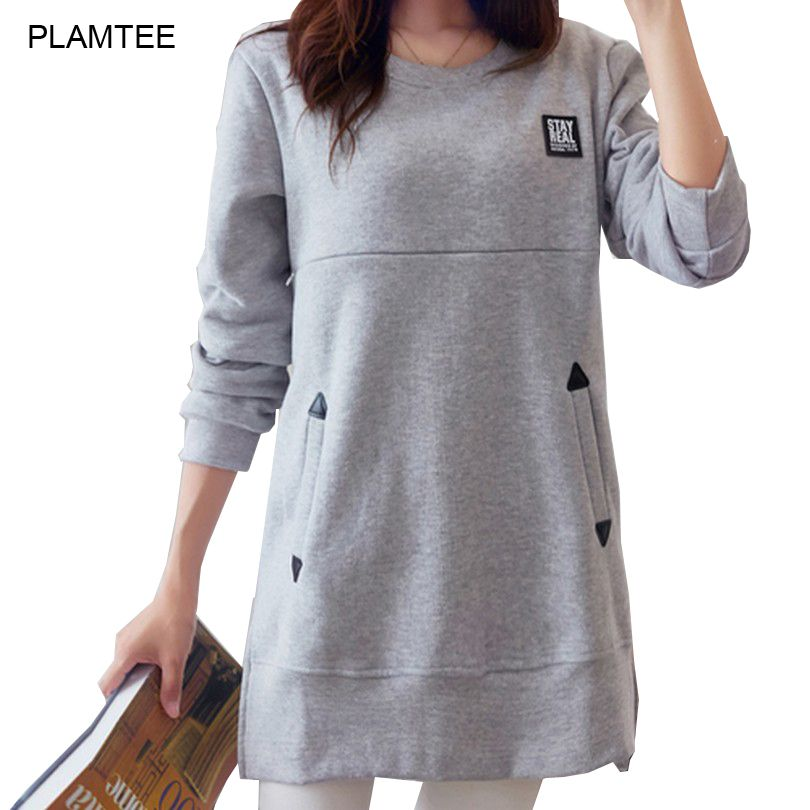 Split Loose Nursing Clothes Tops for Pregnant New Spring Breastfeeding T Shirt with Pockets Solid Maternity Clothes Tee Shirt
