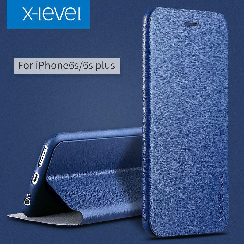 X-Niveau PU Étui En Cuir Pour iPhone 6 s Business Style Flip téléphone Cas pour iPhone 6 6 s plus De Luxe Stand Cas couverture
