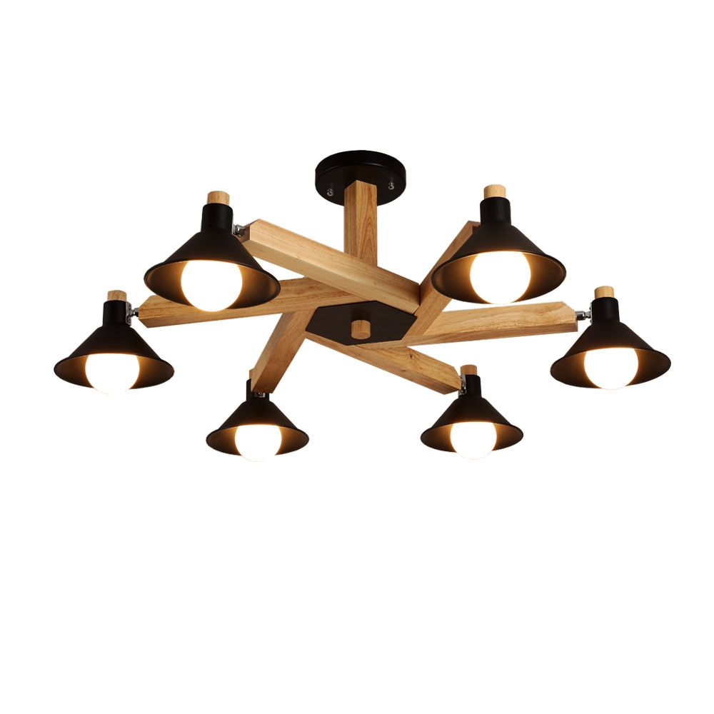 Nordic Design Modern LED Black White Wood Chandeliers Lighting for Indoor Home Living Room Bedroom