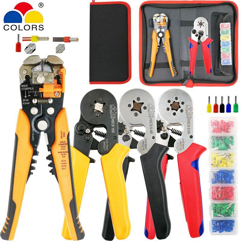 Pince à sertir pince coupante kit HSC8 10 S/6-4/6-6 avec bornes tubulaires 260 pièces/boîte pince à sertir électrique ensemble