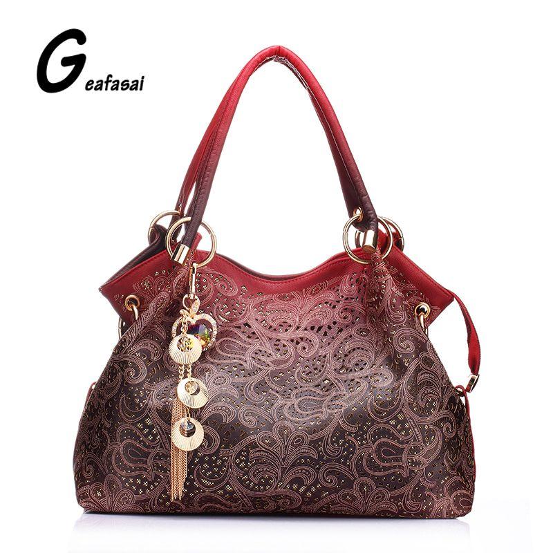 Brand designer good Quality flowers Hollow Out Shoulder hobos Bag tassel Elegant Women Ladies Leather Handbag bolsas femininas