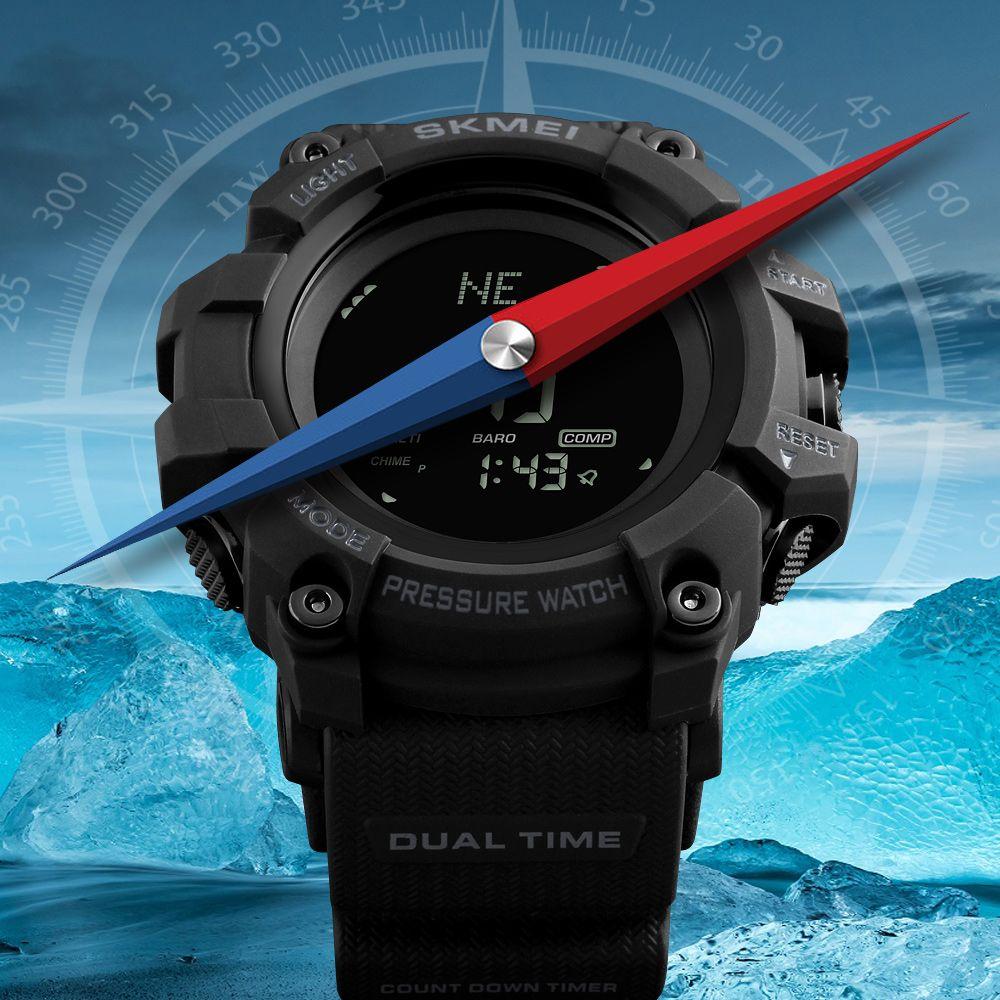 SKMEI Men Watch Sport Altimeter Pressure Thermomet Weather Pedometer Calories Compass Multifunction LED Digit Wrist Watches Men
