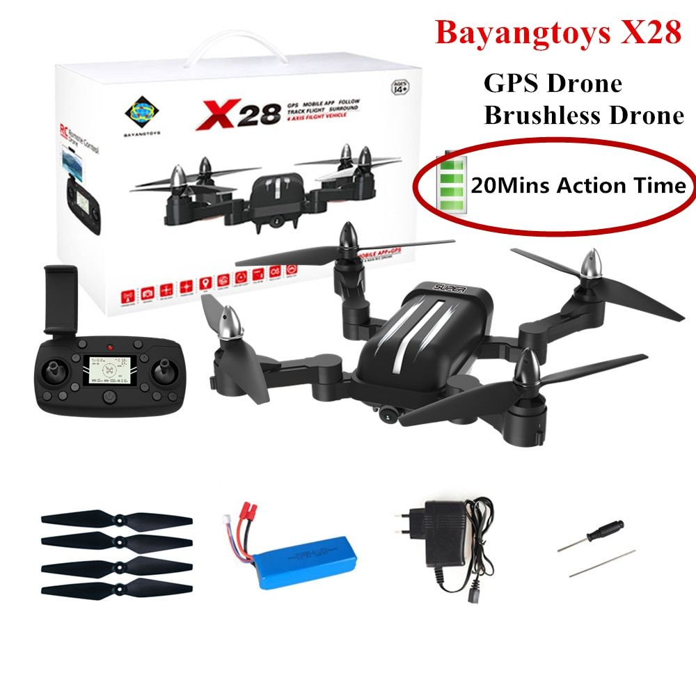 Bayangtoys X28 Brushless Quadcopter with 1080P HD Camera RC Helicopter Quadrocopter Foldable Drone GPS Dron Kids Gift VS CG033