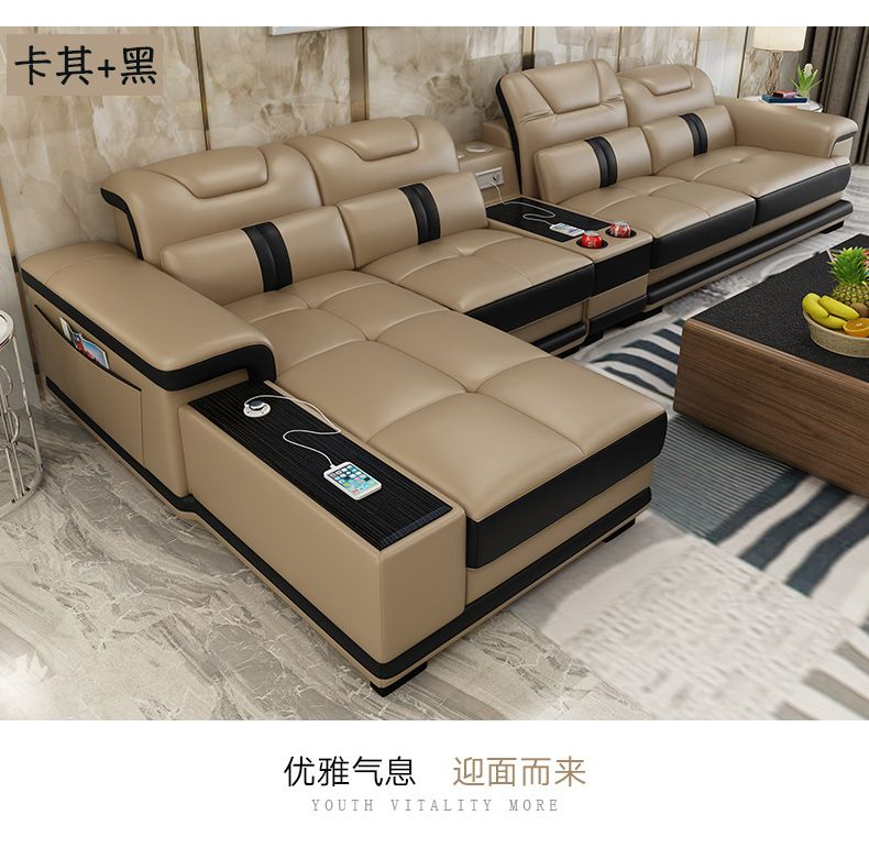 Living Room Sofa set corner sofa speaker real genuine cow leather sectional sofas minimalist muebles de sala moveis para casa