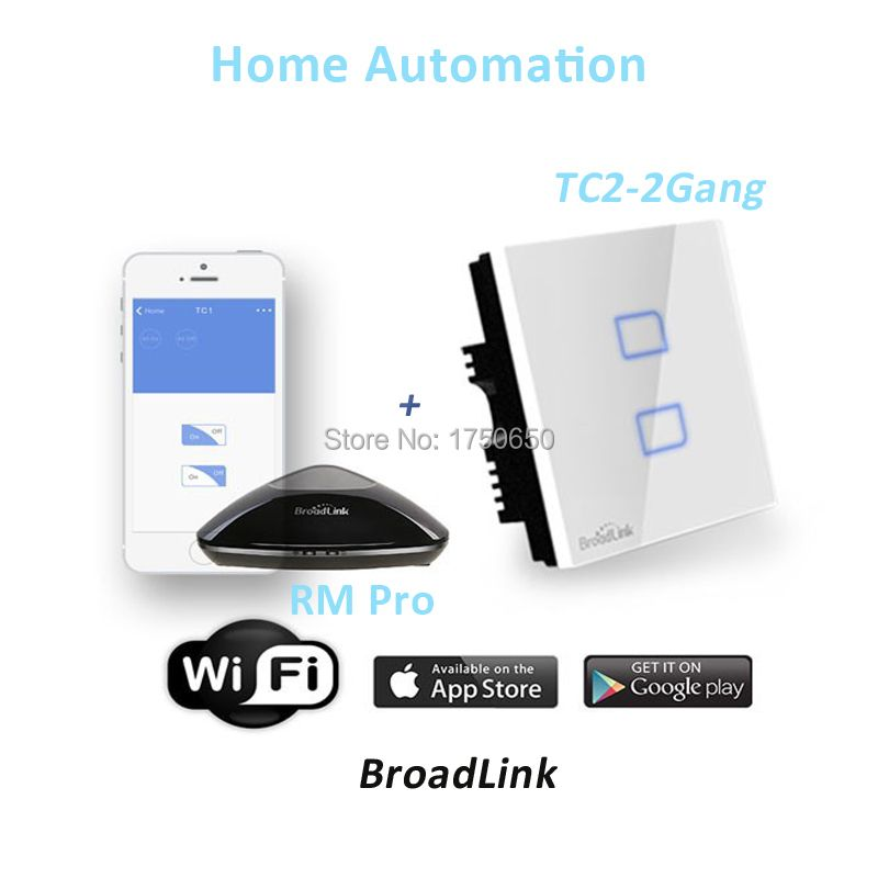 Broadlink RM RM2 PRO Intelligent Universal Sonoff Switch Controller WIFI IR RF TC2 2 Gang 433 mhz Touch Wall Light Smart switch