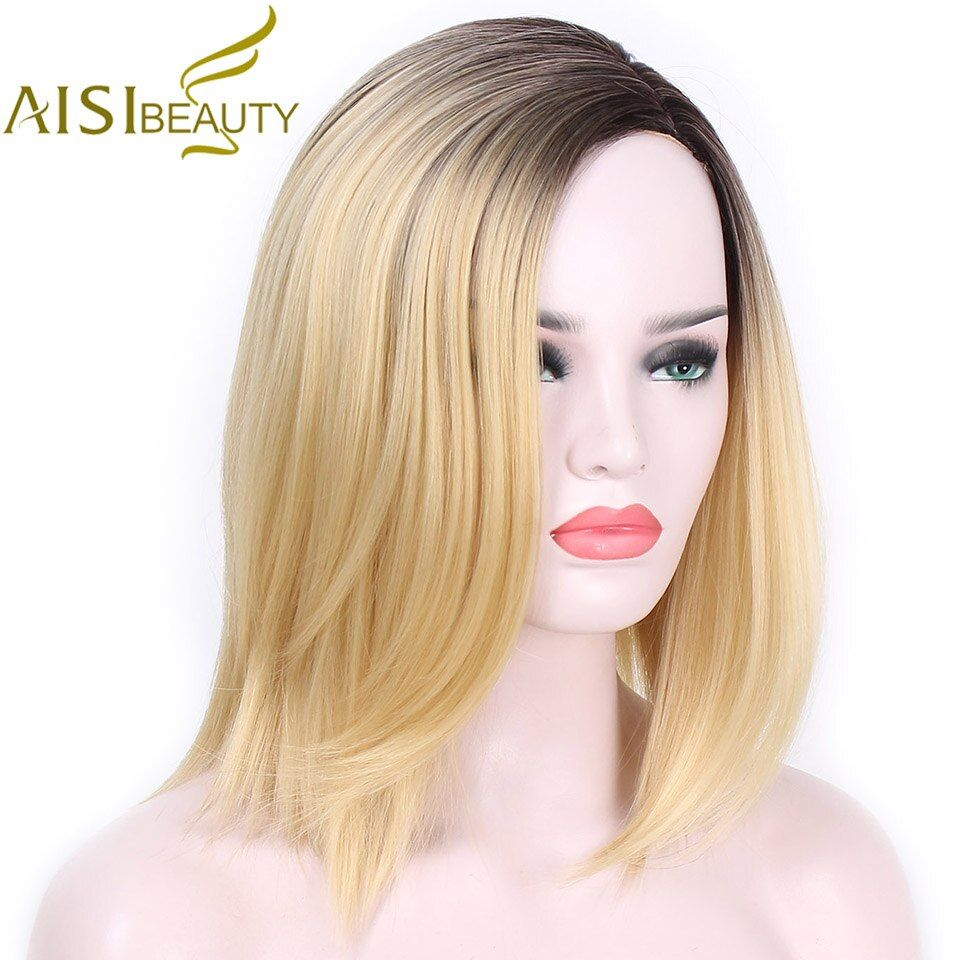 AISI BEAUTY Short Blonde Ombre Straight Synthetic Wigs for Women Cosplay wigs 13 Colors Hair Free Shipping shoulder length