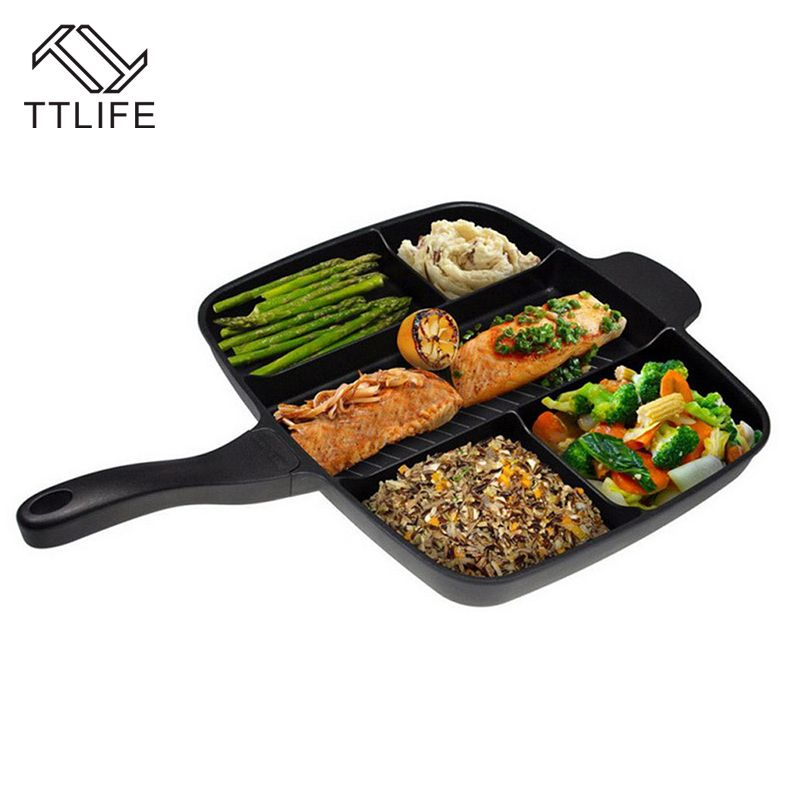 TTLIFE New 5-in-1 Multifunction Breakfast Fryer Pan Flat Non-stick Divided Frying Grill Pan Eggs Steak Pots and Pans for Cooker
