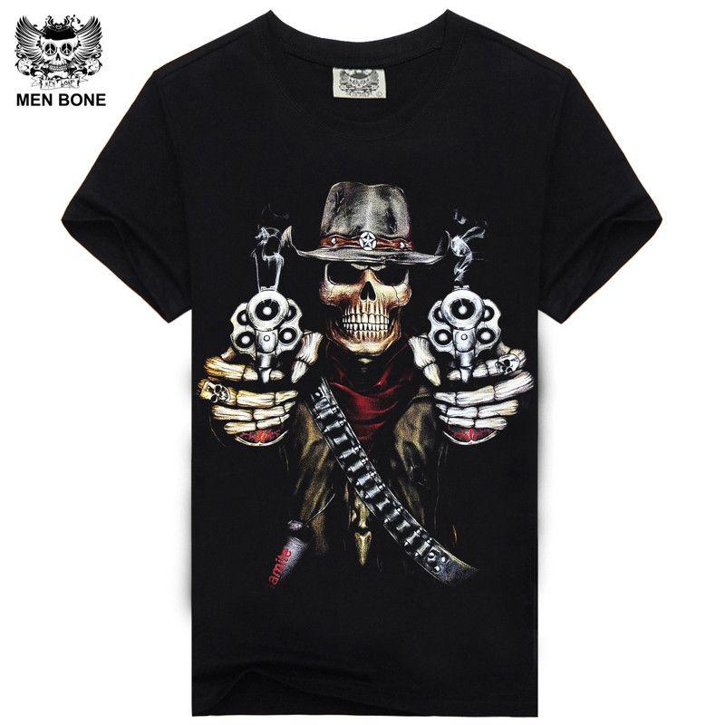 [Hommes os] chaude 100% Coton T-shirt Mâle Marque De Mode rock punir punk 3D crâne Hommes T-shirt street wear cool Camisa T-shirts XXXL