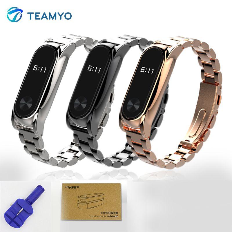 Teamyo Inoxydable Bracelet En Acier Pour Xiaomi Mi Bande 2 Accessoires Bracelet à puce Mi Band2 Métal Sangle Remplacer pour Pulseras Miband 2