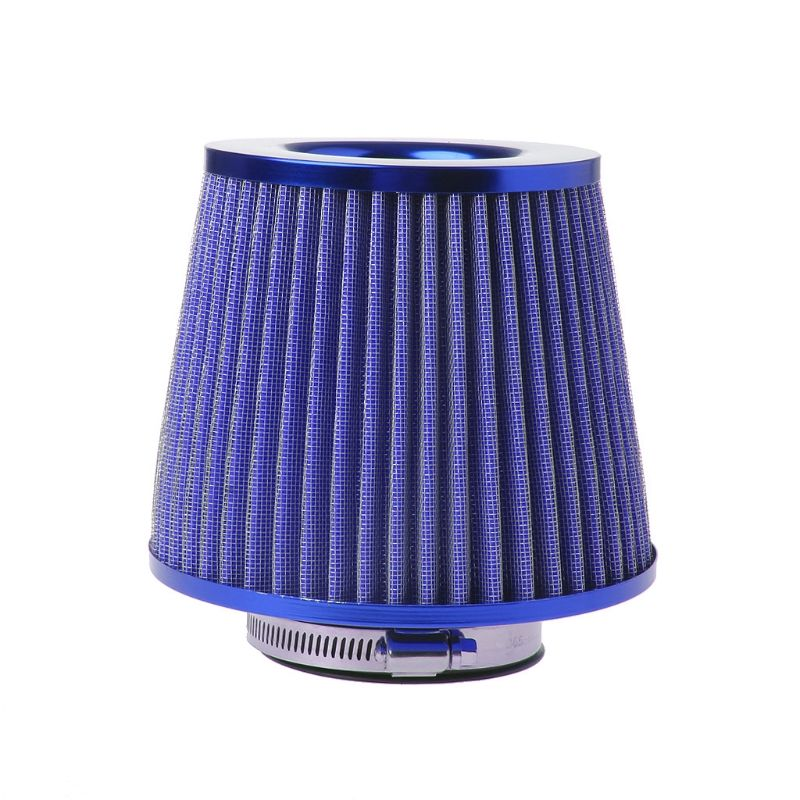 Blue Vehicle Air Filter Air Intake Chrome Open Top Cone Breather 3 Inlet O04
