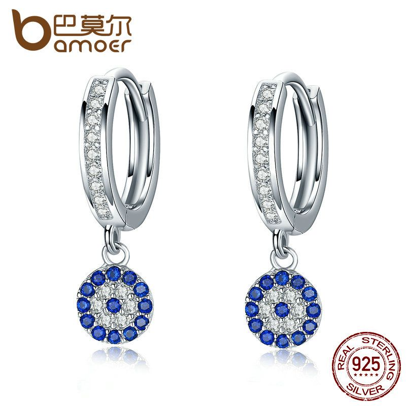BAMOER Genuine 925 Sterling Silver Round Blue Clear Cubic Zircon Crystal Drop Earrings for Women Authentic Silver Jewelry SCE058